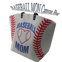 2018 새로운 디자인 캔버스 축구 야구 소프트볼 토트 가방 엄마 스포츠 토트 지갑 스티치 여성 면화 캔버스 가방