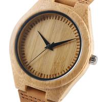 Minimalista Relojes de cuarzo de bambú Correa de cuero Casual reloj simple Hombres y mujeres Reloj de madera hecho a mano Regalo masculino femenino 2018 Nuevo
