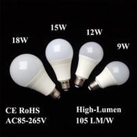 مصابيح LED E26 E27 B22 مصابيح موفرة للطاقة ضوء لمبة عالمية 9 واط 12 واط 15 واط 18 واط 110 فولت 220 فولت 240 فولت SMD2835 الذكية IC قوة حقيقية