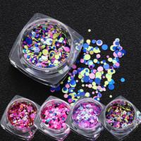 Güzellik Renk Karışık Tırnak Sanat Glitter Pullarda Yuvarlak Tırnak Glitter Çıkartma Bling Etkisi Nail Art Dekorasyon