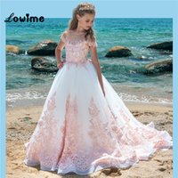 White Long Flower Girl Dresses With Pink Applique Fashion Gi...