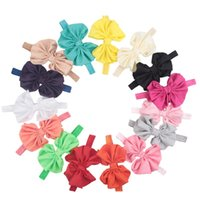 15Colors 3.1''Baby Girl Handwork Satin Hair Accessories Ribbon flower Bows Headbands Infant Boutique Bows Elastic Hairbands baby photo props