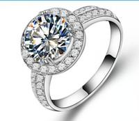 Garantie 2CT Sterling Silber Zuverlässige Weißgold Farbe Synthetische Diamanten Ring Engagement Frauen Hochzeit Trendy Schmuck