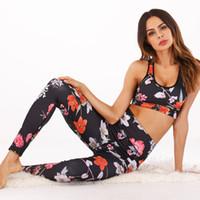 LI-FI Femmes Floral Yoga Set Halter Crop Top Sans Manches Serré Slim Formation Yoga Costumes Push Up Courir Séance D'entraînement Fitness Gym Porter