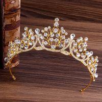 Crown barroco do casamento Espumante Ouro Vermelho Verde Azul Cristal Headband nupcial Tiaras Rhinestone Pageant Acessórios Diadema cabelo