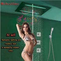 Valvola termostatica a grande portata Ultra Luxur con musica Radio FM Bluetooth LED Soffione doccia Soffione a pioggia Foschia per doccia