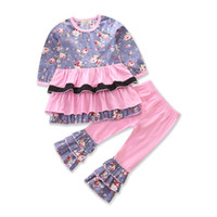 Baby Girls Flounce Outfits Floral Printed Dots Patchwork Thr...