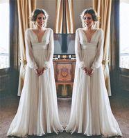 Модест хиппи бохо пляжные свадебные платья 2020 с длинными рукавами V-образным вырезом плюс размер шифон дешевые летние материнства греческий стиль свадебные платья