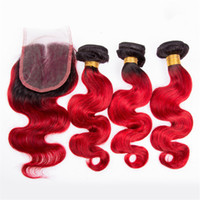 Yeni Brezilyalı Kırmızı Saç Örgü Kapatma Vücut Dalga Ile Iki Ton Ombre 1B Kırmızı Ombre İnsan Saç Demetleri Ve Dantel Kapaklar