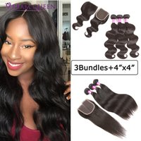 8A Brazilian Hair Straight Body Deep Water Wave 3 Bundles wi...