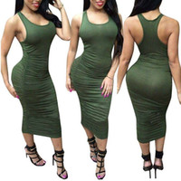 Women Tank Dresses Summer Bottoming Sheath Bodycon Dress Sol...