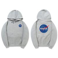 가을 겨울 조수 브랜드 망 디자이너 NASA 후드 블랙 그레이 카키색 유니섹스 풀오버 코튼 까마귀 힙합 후드 스웨터 연인 스웨터