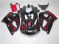 مجموعة هدية عالية الجودة لسيارات سوزوكي GSXR600 GSXR750 SRAD 1996-2000 أسود أحمر اللهب GSXR 600 750 96 97 98 99 00 fairings TT54