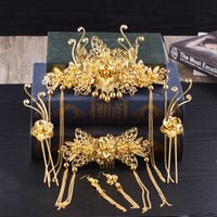 Gelin Antik Kostüm Şapkalar Suit Altın Antik Yolları Phoenix Coronet Geri Tarak Saç Firkete Aksesuarları Göster Tahıl Cheongsa Marry Restore