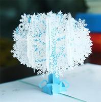 Navidad hecha a mano creativa de tarjeta postal de pop-3D tarjeta de felicitación tarjetas postales copo de nieve blanco para los niños amigos regalo de Navidad