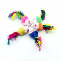 Funny Soft Fleece False Mouse Juguetes para gatos Colorful Feather Playing Kitten Toy Color aleatorio Gatos Gatito Ratones Juguetes Suministros