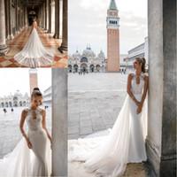 2020 Julie Vino Vestidos de novia con tren desmontable Cuello alto con cuentas con cuentas apliques Backless Beach Vestidos nupciales a medida.