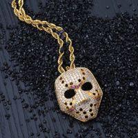 Ожерелье Hip Hop Brass GoldRose цвета золота гальванического Iced Out Micro Асфальтовой Кубический циркон маска Подвеска для мужчин Женщин идеи подарка