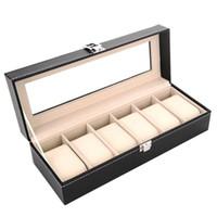 High End PU Jewelry-Speicher-Halter Rechteck-Armbanduhr-Display-Box mit Glasfenster Organizer Ankunft 26YC BB