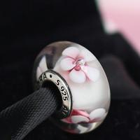 Braccialetto in argento 925 con pendente in vetro di Murano rosa fiore di Murano fatto a mano adatto per bracciali europei di gioielli Pandora