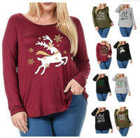 Women Autumn T Shirt Xmas Elk Deer Letter Print Shirts Pullo...