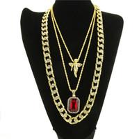 Micro Angel, Roter Stein, Kubanische Gliederkette 3 Halskette Set Vergoldete Halskette Schmuck Hip Hop Halskette Für Männer Frauen KKA1839