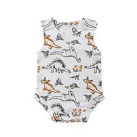 Erkek bebek Giysileri Yaz 2018 Bebek Rompers Yenidoğan Bebek Giysileri Bebek Boys Kolsuz Dinozor Romper Tulum Pamuk Rahat Kıyafetler 0-24 M