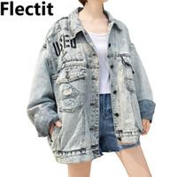 Flectit koreanischen Stil übergroßen Boyfriend Denim Jacke für Frauen Grafik verwendet gewaschen Denim Langarm Vintage Jean Jacke Mantel