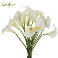 20 adet / grup Dekoratif Çiçekler Calla Lily Yapay Çiçek PU Gerçek Dokunmatik Ev Dekorasyon Parti Düğün Buket Çiçekler