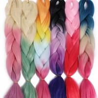 Beauty Ombre Kanekalon Jumbo Crains Синтетические плетеные Волосы Доступны 100 г 24 дюйма волос Розовый синий зеленый цвет