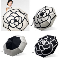 Luxury Camellia Flower Umbrella Women 3 - Fold UV Shade Prote...