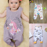 Baby Cartoon Print Dress Unicorn Jumpsuits Rainbow Floral Su...