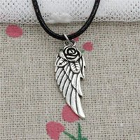 New Fashion Tibetan Silver Pendant angel wings flower 30*12m...