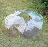 투명 한 분명 EVC 우산 긴 손 비 햇빛 우산 성인 아이를위한 비 방울 웨딩 사진에 대 한 다채로운 우산을 통해 참조하십시오