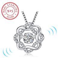 Zwei Farben Mode Klassiker Drehen Tanzen CZ Stein 925 Sterling Silber Anhänger Halskette Für Frauen Modeschmuck Geschenk Für Liebe