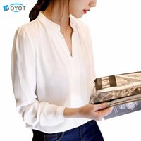 KOYOT New Casual White Women Blusa da donna Solido elegante scollo a V Camicette manica lunga OL Office Shirt Plus Size