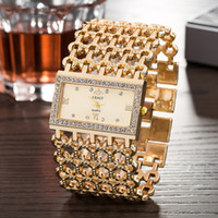 Wengle Yeni 2018 REALY moda alaşım Kare Genişbant Lüks Mizaç Tanrıça elmas Romen rakamları bilezik Kuvars İzle