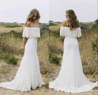 Country Style Boho casamento Vestidos Off the Shoulder Branco Chiffon Praia Vestidos de noiva Custom Made Zipper Up Voltar Plus Size vestidos de noiva