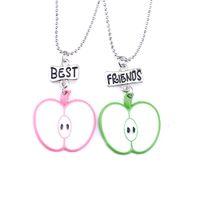 2PCs / Set halbe Apple Halskette beste Freunde Obst Anhänger Halskette für Kinder Kinder Geschenk Schmuck N817
