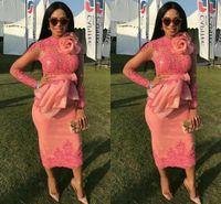 2018 아프리카 appliqued 레이스 짧은 댄스 파티 드레스 우아한 보석 긴 소매 이브닝 가운 차 길이 칼집 특별 한 드레스