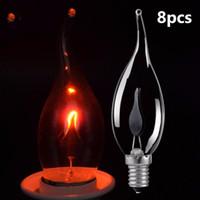 E27 E14 동적 LED 불꽃 전구 3W 크리 에이 티브 빛 LED 깜박이 시뮬레이션 분위기 장식 조명 촛불 모양 8pcs