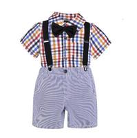 Conjuntos de ropa de niño de verano Ropa para niños Traje de caballero Camisa de manga corta a cuadros + Pantalones cortos de liga Ropa de niños Conjunto Traje