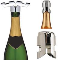 Rolhas de vinho em aço inoxidável com Selador De Silicone Champagne Wine Bottle Stopper Sealer Bar Wine Plug ferramentas