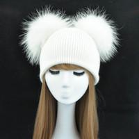 Doble Real Piel Pom Pom Sombrero Mujeres Gorras de invierno de punto de lana sombreros Skullies Gorros Niñas Hembra Natural Dos Piel PomPom Beanie Hat D18110102