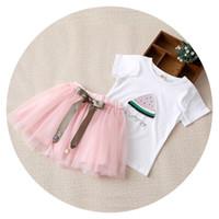 Nova Chegada de Verão Meninas Roupas Set Crianças Melancia Impresso T-shirt com Tutu Saia de Renda Outfit Moda Roupas Infantis