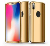 360 graus de cobertura chapeamento espelho corpo cheio de plástico de corpo de plástico para iphone 11 pro max xs xr x 8 7 mais samsung galaxy s10 e s9 nota 10