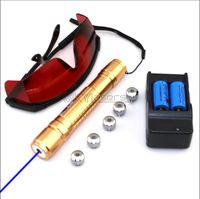 BX2-F5 450nm puntatore laser regolabile con messa a fuoco in oro blu con batterie CaricabatterieGuardiContenitore in alluminio5 tappi a stella