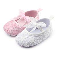 Neue Ankunfts-Babys pricess Schuhe Spitzebowknot-Kind-Kleinkind-weich Sohle Anti-Rutsch-Tuch-Schuhe erste Wanderer für Neugeborene