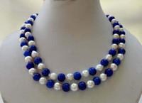 Collana di perle di lapislazzuli blu 10mm di grandi dimensioni 9-10mm bianco perla 36 ''