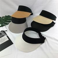 Sombrero del sombrero de la visera de la paja de las mujeres de ala ancha plegable superior vacía playa de tenis Cap moda de verano 10 unids / lote